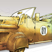 Futuristic retro car